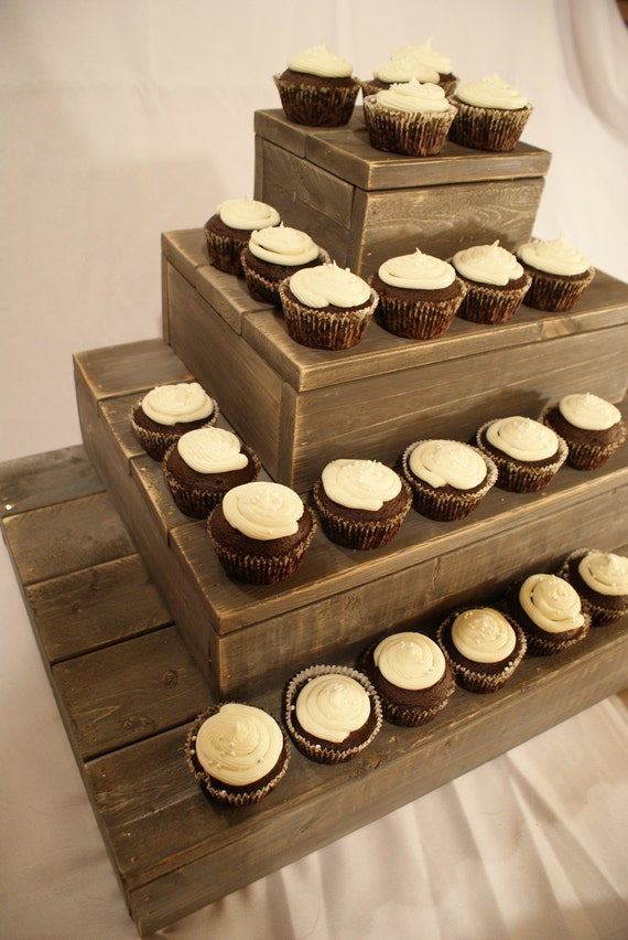 Items similar to rustic wood cupcake stand for your beach