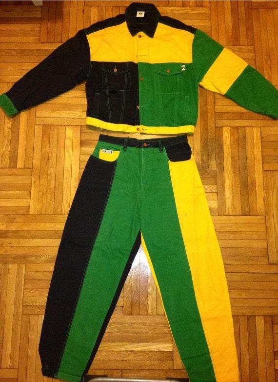 Vintage 90s RARE CROSS COLOURS denim jacket and jean rasta color  Africa hip hop rap Tupac Fresh Prince Funky