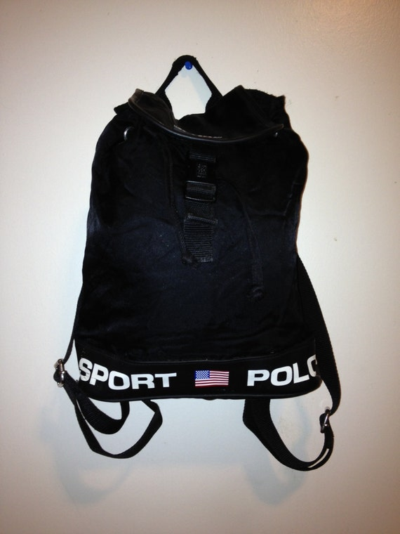 Vintage 1990s Polo Sport Ralph Lauren black nylon backpack