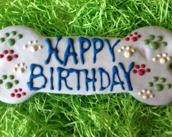 Dog Treats//Personalized Birthday Bone Homemade Gourmet Peanut Butter Treat for Dogs
