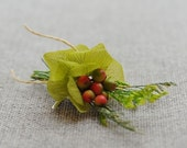 Green Hydrangea Wedding Boutonniere. Preserved Green Hydrangea Red Berry Rustic Boutonniere. Dried Hydrangea Country Woodland Boutonniere