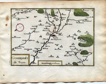 Antique troyes map Etsy