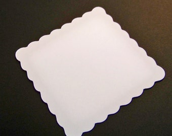 50 white 2 inch square scalloped cards fancy die cuts