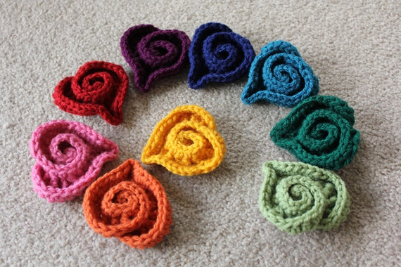 Free Swirl Heart Crochet Pattern : Crocheted Spiral Swirl HEARTS any color choose color