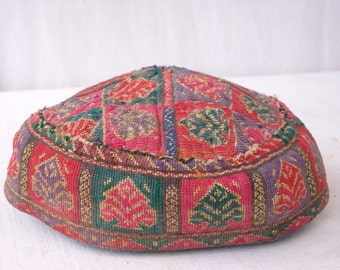 1920s Hat - Hand Woven Asian Vintage Textiles -  Vintage Hand Made Kilim Hat
