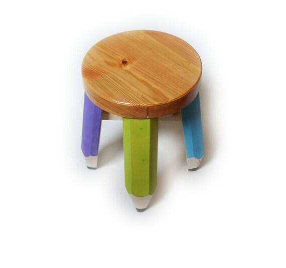 Items Similar To Child S Stool Pencil Theme On Etsy