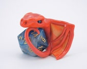 Orange Marble Dice Dragon with Blue-Gray D20