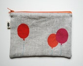 Balloons Zipper Pouch / Orange, Red, Pink / hand printed fabric / cosmetic pouch / small