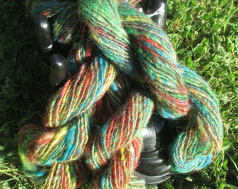 CLEARANCE! CARNIVAL: Hand dyed, 100% Romney Wool, hand spun Thick and Thin Art Yarn, 50 yards, 2 skeins available