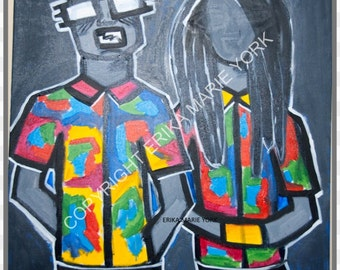 Ugly Shirt Contest Original Painting by Erika York 30in by 30in Canvas