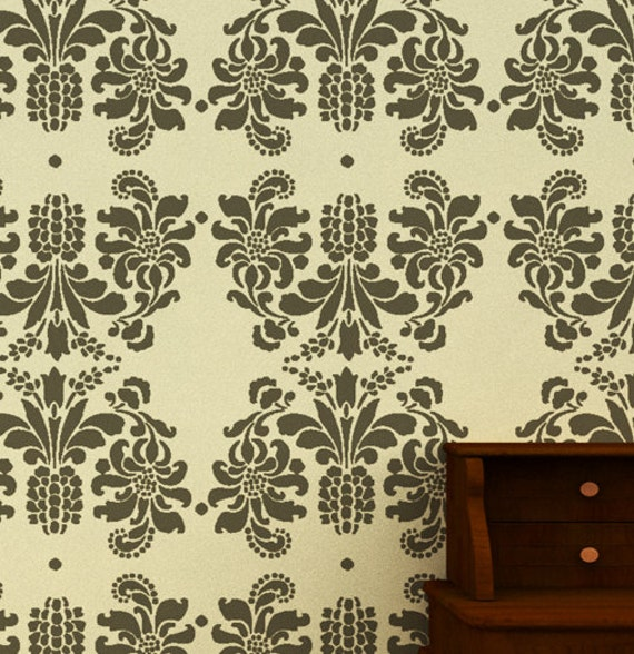 Large Wall Stencil Ideasreusable Damask Stencil Diy By Decorze