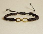 Antique Brass Infinity Black Friendship Bracelet  -  Men Jewelry - Unisex  - Gift under 15