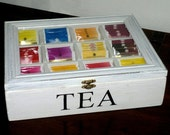 TEA BOX Shabby Chic 12 wooden tea box set door compartments-Valentine's day