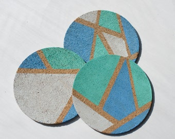 Hand Painted Set of 3 Coasters