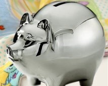 Deluxe Personalized Silvertone Piggy Bank - Engrave this Piggy Bank with a Name - A TOP Baby Shower Gift !