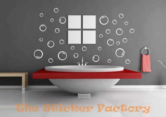 48 Bubbles Bathroom vinyl decal wall art decor