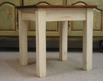 Rustic Side Table / Cottage End Table / White Small Table / Wooden Lamp  Table