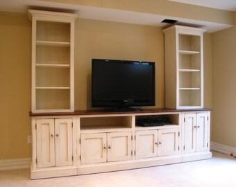 Good TV Center / Wood TV Wall Unit / Hand Painted Media Center / Entertainment  Center