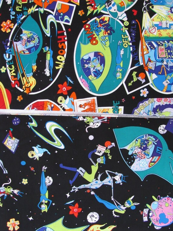 Space cats fabric lot aliens cats outer space fabric for Space cat fabric