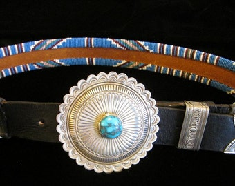 Beaded Belt with Navajo Sterling & Turquoise Buckle Set