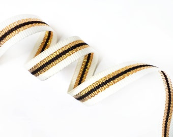 5 YARDS Off White Shiny Gold and Black Gross Grain Trim Ribbon  0.5'' - for Crafts, Sewing , Accessories