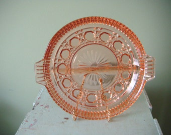 Pink Glass divided serving tray