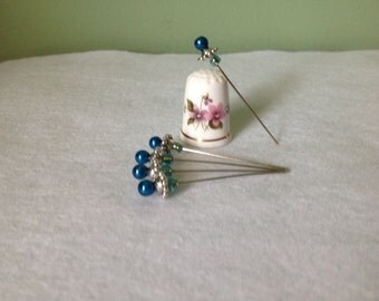 """Set of 5, 2"""" Fancy Blue Beaded Corsage/Straight Pins"""