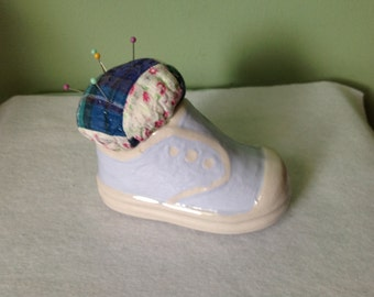 Ceramic Baby Shoe with Quilted Pin Cushion