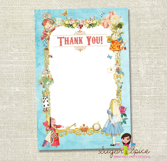 Alice in Wonderland Vintage Printable Thank You Card - Pink or Blue - You print PDF