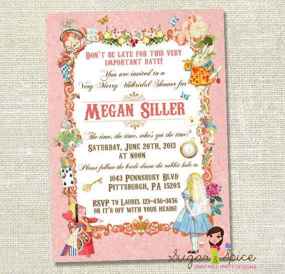 Alice in Wonderland Vintage Bridal Shower Invitation - Blue or Pink - Digital File, You Print - 5x7