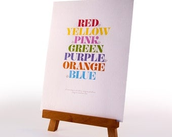 NOW 50% OFF – Rainbow song Letterpress Print