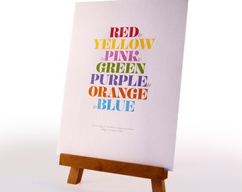 Rainbow song Letterpress Print – DISCONTINUED SALE