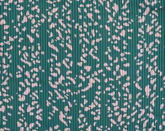 Vintage Emerald Green Translucent Striped Spotty Leopard Animal Print Retro Satin Fabric
