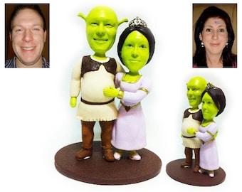 Personalised wedding cake topper  - Shrek style(Free shipping)