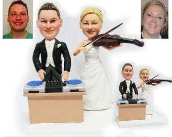 Personalised wedding cake topper - musician wedding cake topper (Free shipping)
