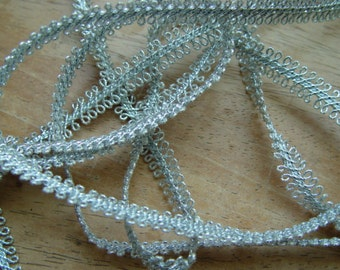 "Vintage Silver Gimp Trim Metallic / 1 yard,  3/8"" wide /  By The Yard / Sewing Supply"