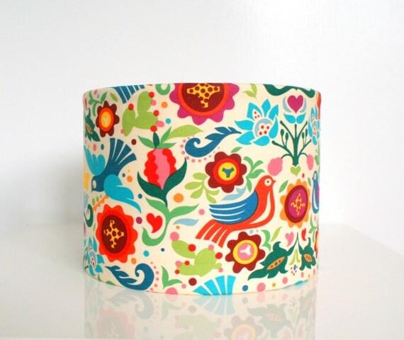 Fabric lampshade drum - multi coloured designer bird fabric lampshade, for table lamps
