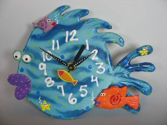 Fish Wall Clock Whimsical Tropical Blowfish Kids Clock