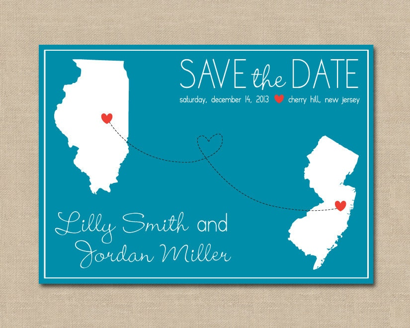Teal save the date | Etsy