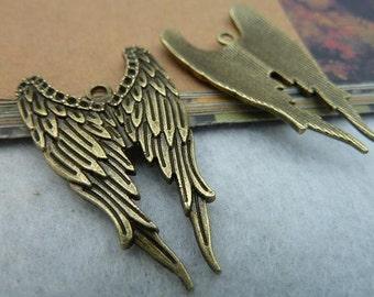 10pcs 24x40mm Antique Bronze Antique Silver Angel Wings Charms Pendants AH3058