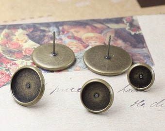 Antique Bronze Post Earring Setting for 8-16mm Round Bezel Cup Cabochon Mountings C05574