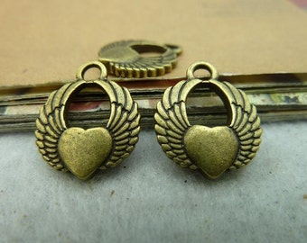 20pcs 14mm Antique Bronze Heart Wings Charms Pendants Jewelry Findings AH3106