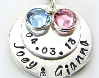 Personalized Mommy Newborn Twins Necklace - Handstamped Baby Name Necklace