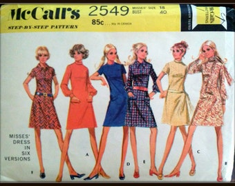 """McCall's  2549  Misses' Dress in Six Versions  Size  18  Bust 40""""  Uncut"""