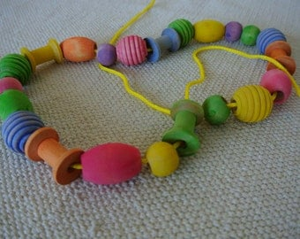 Montessori Natural Wood Lacing Beads for Toddlers with Organic Beeswax Finish