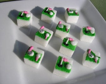 28 Pcs Decorated Sugar Cubes Pink Golf Collection     Simply Darling