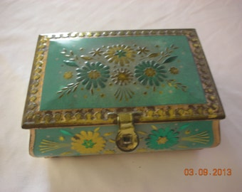 Vintage Turquoise Tin Trinket Jewelry Desk Box with Latch for Padlock