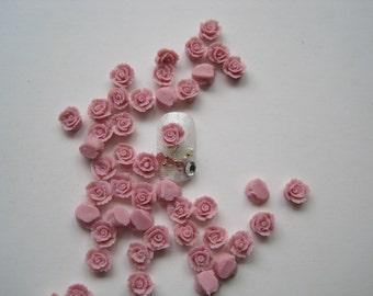 CF-4-3 30pcs Cute Handmade Ceramic Pink Flower Ceramic Decoration Nail Art Decorations