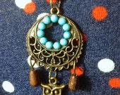 SALE Bronze Owl Dreamcatcher Necklace