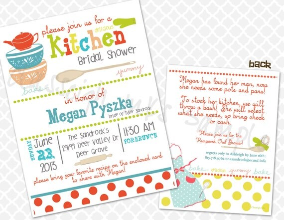 Pampered Chef Kitchen Recipe Bridal Shower Invitation By